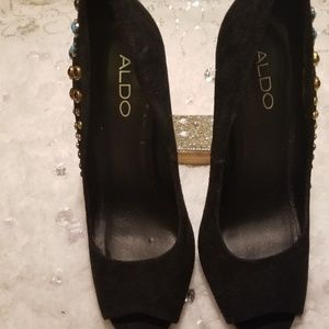 Black Aldo Jeweled velvet Pumps